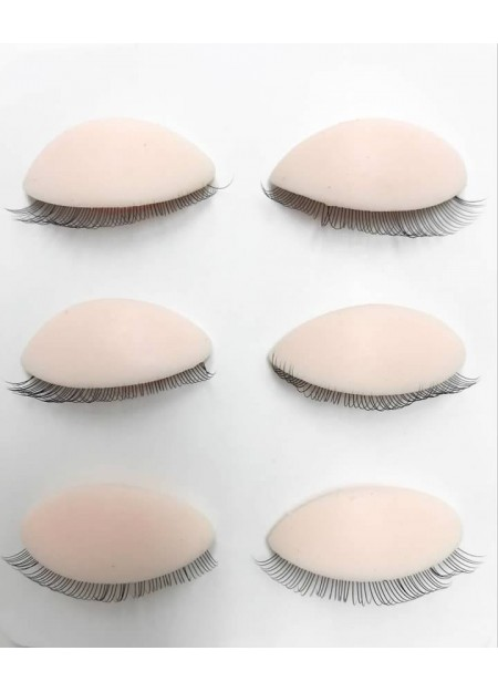 3 Pairs Silicone Removable Replacement Eyelids for Mannequin Flat Head Eyelash Extension Practice Training Head (light)